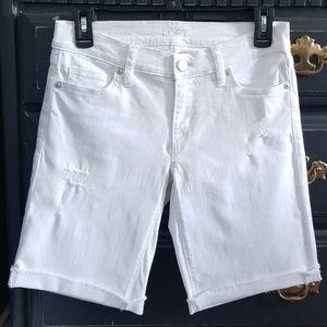 💖 Ann Taylor LOFT White stretch Jean Shorts 24